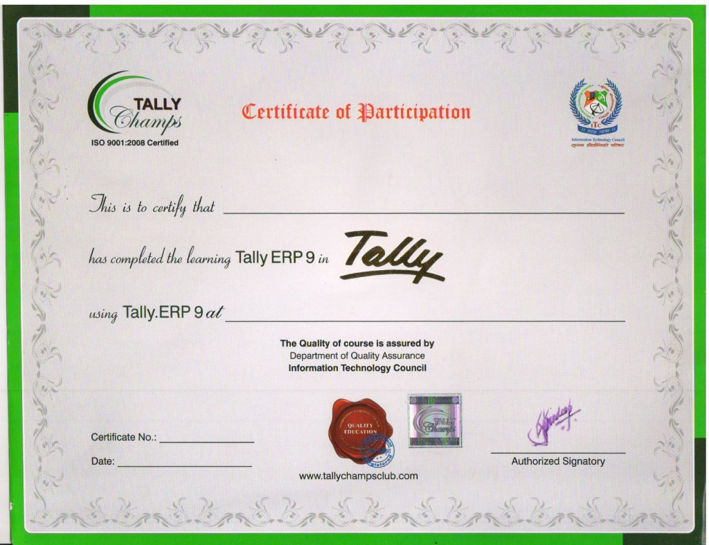 Tally Sample Certificate - GAIT ICTL